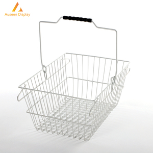 Plastic handle metal wire mesh basket