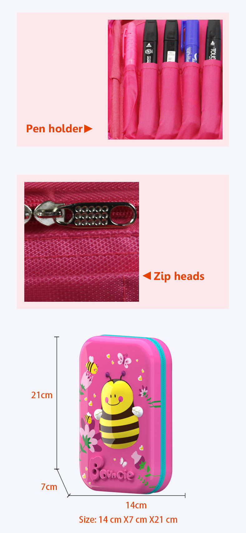OEM  Cute animal printing kid 3D EVA pu hard pencil case for school supplier