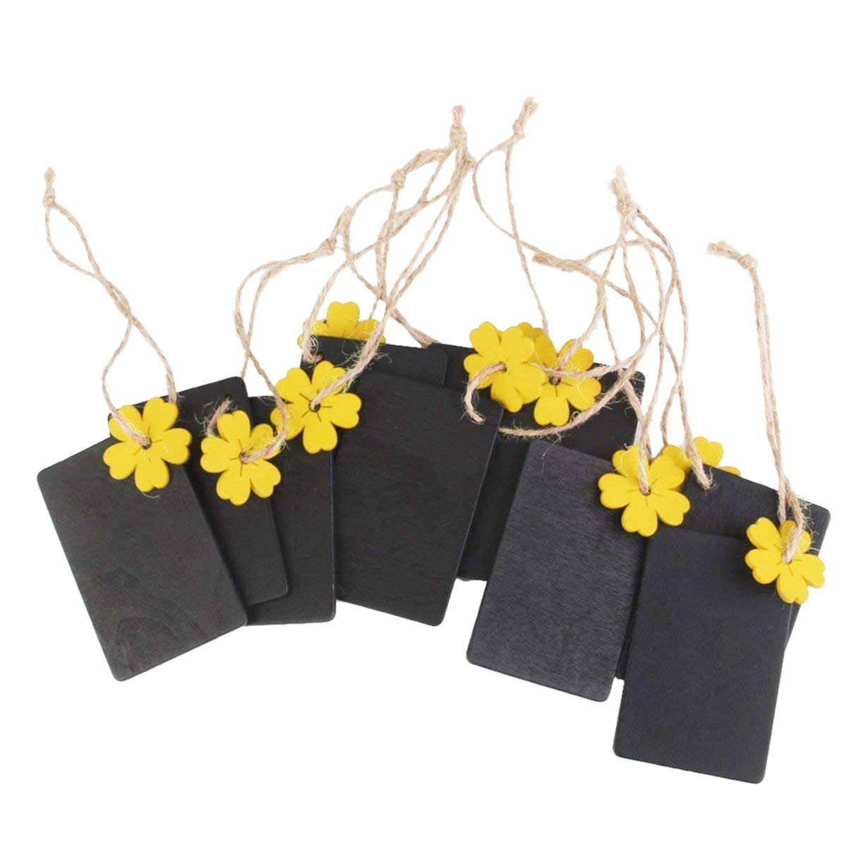 ULTNICE 10pcs Mini Chalkboard Hanging Blackboard Wood Gift Tags Favor Tags with Twine and Yellow Flower
