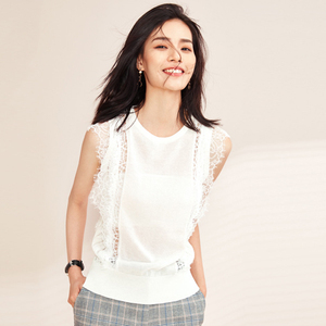 Wholesale woman Lace stitching sleeveless knit top loose thin hollow sweater blouse