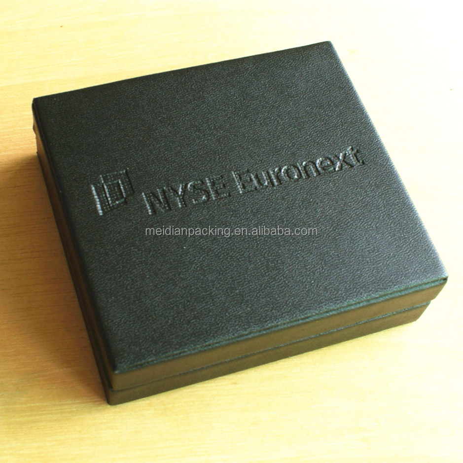 Square black handmade custom printed wood keepsake box