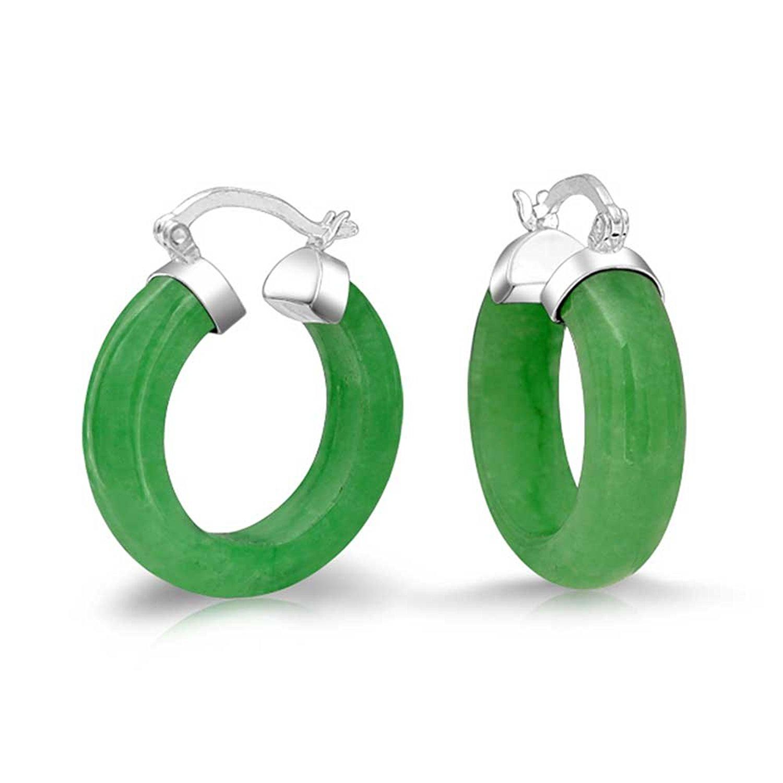 Bling Jewelry Small Dyed Green Jade Sterling Silver Hoop Earrings