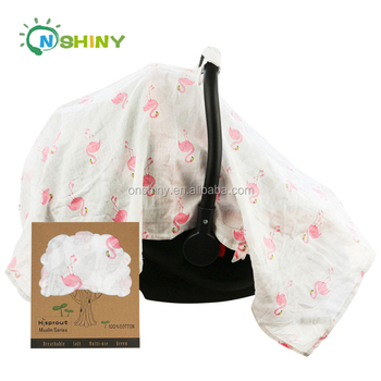 New Design Cotton Bamboo Muslin Baby Car Seat Canopy Cover