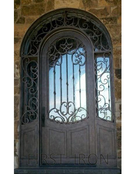 Wrought Iron Transom And Sidelight Door