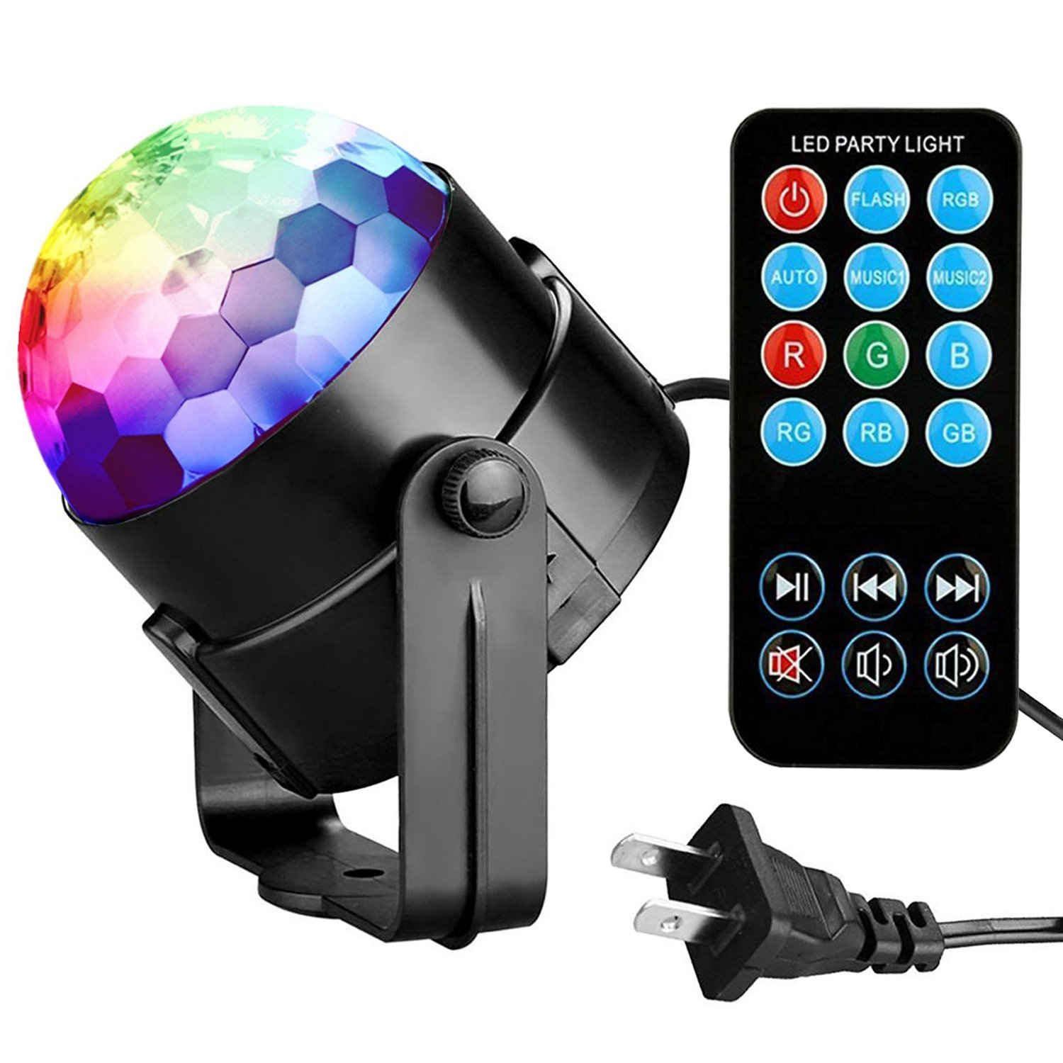 Party Lights Disco Ball Tabiger Disco Lights DJ Light Sound Activated Strobe Light 3W 7 Colors Stage Lights Xmas Karaoke Disco Ball Light for Kids Birthday Home Party Club Pub Wedding with Remote