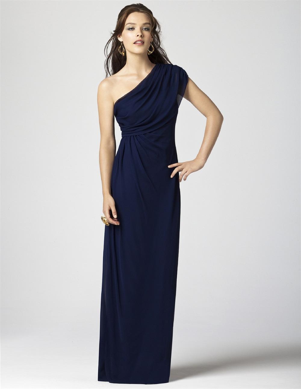 Navy blue long plus size chiffon elie saab evening dress ...
