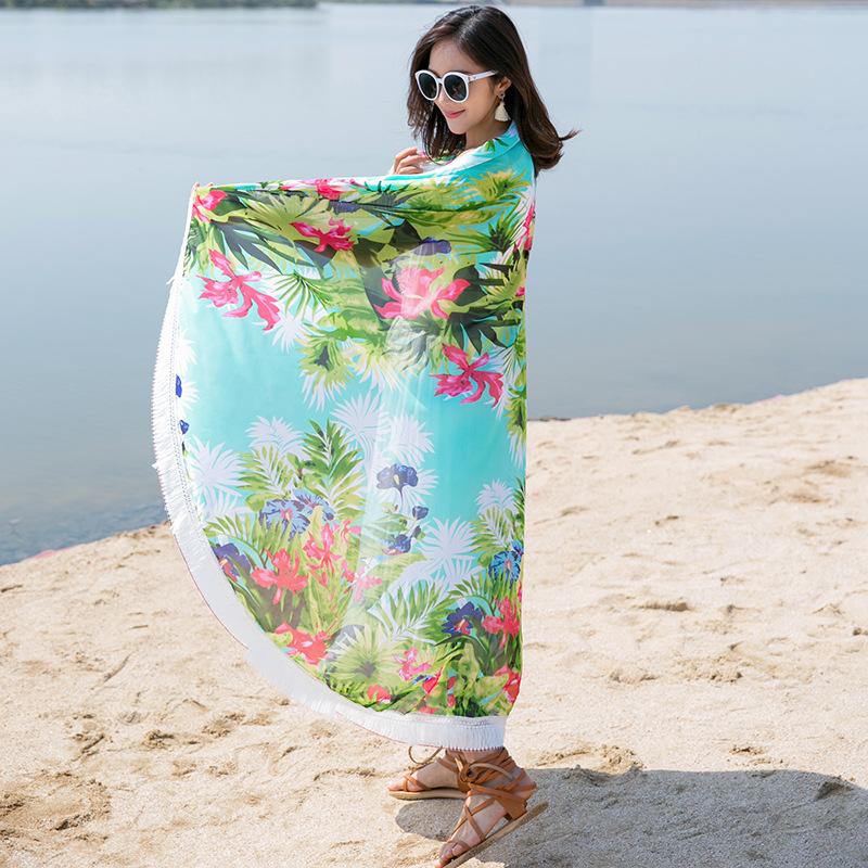 Custom quick dry microfiber beach towel fashion yoga mat hippie tapestry mandala round printed beach towel