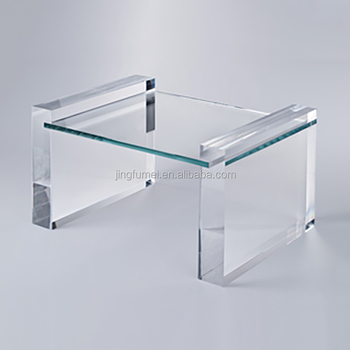 Colorful Lucite Legs Acrylic Tea Table Coffee Table Glass Top