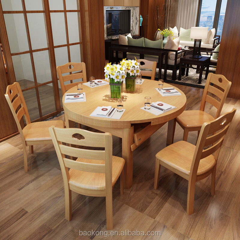 Wooden Round Folding Dining Table Set