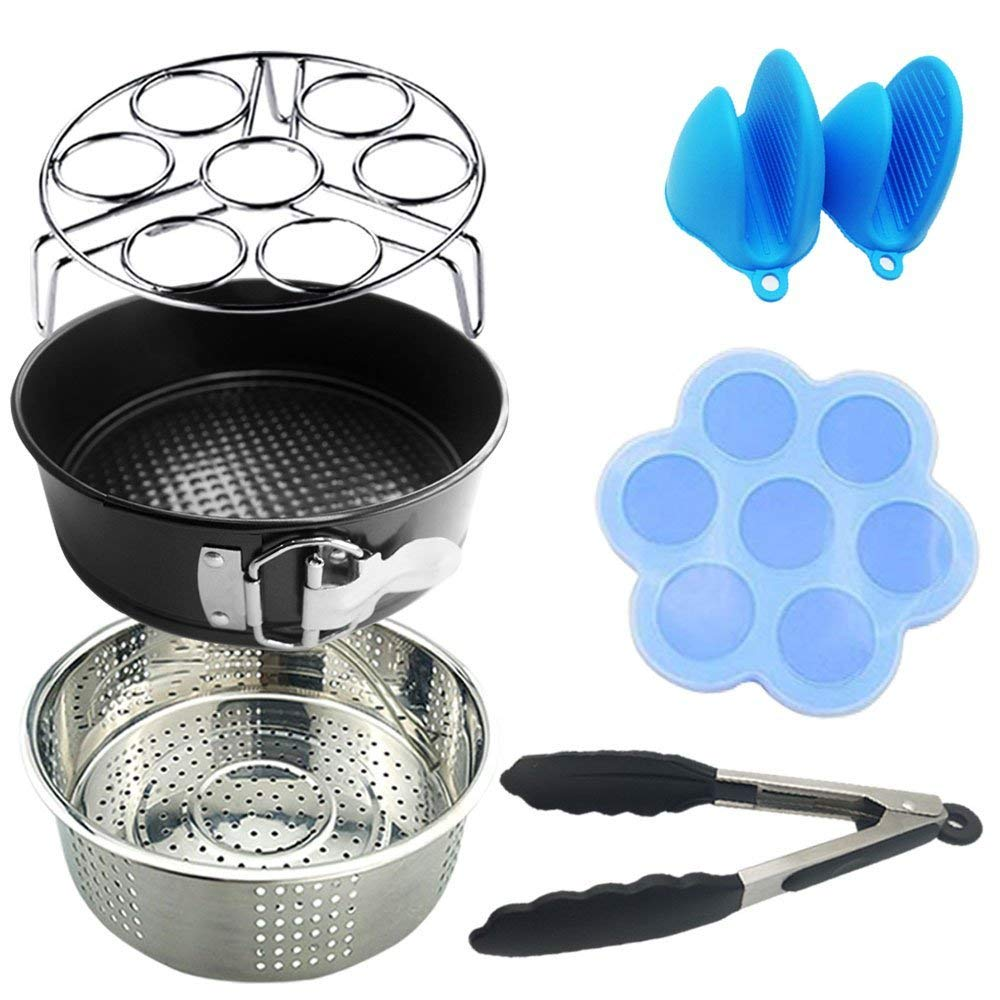 Instant Pot Accessories 6 qt Set - Silicone Egg Bites Mold, Non-Stick Springform Pan, Steamer Basket, Egg Steamer Rack, Silicone Kitchen Tongs, Mini Mitts Fits 5,6,8Qt Instant Pot Pressure Cooker
