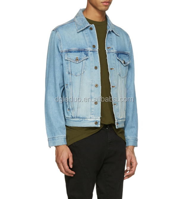 100 Cotton Regular Custom Denim Jacket Men Bomber Blue Jeans Jacket
