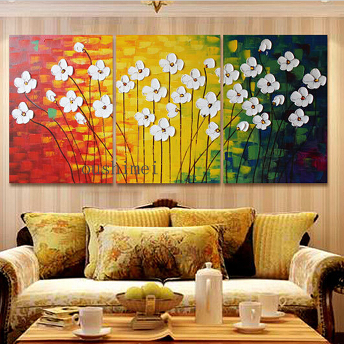 Modern Painting Canvas Basketball Wall Pictures Home Decor: Handmade Modern Oil Painting On Canvas Abstract Flowers