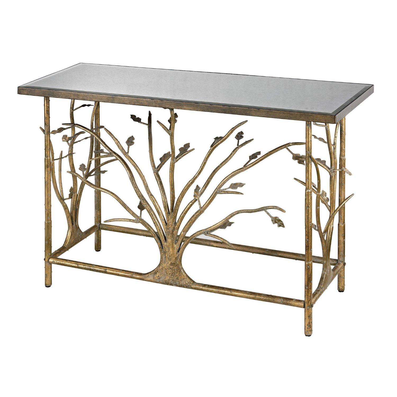 Get Quotations · Gold Leafed Metal Branch Console Table With Antique  Mirrored Top