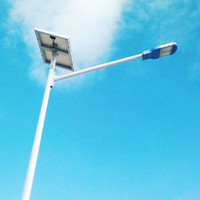 Net full system light street solar led with solar cell gel battery pole