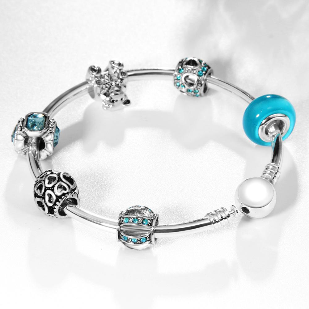 European Brand Women DIY Murano Glass Crystal Bead Silver Bangle Bracelets For Ladies