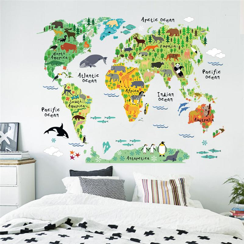 Hot-selling 60*90cm Colorful Map animals Vinyl Decoration Sticker World Map Wall Decoration Sticker Kids