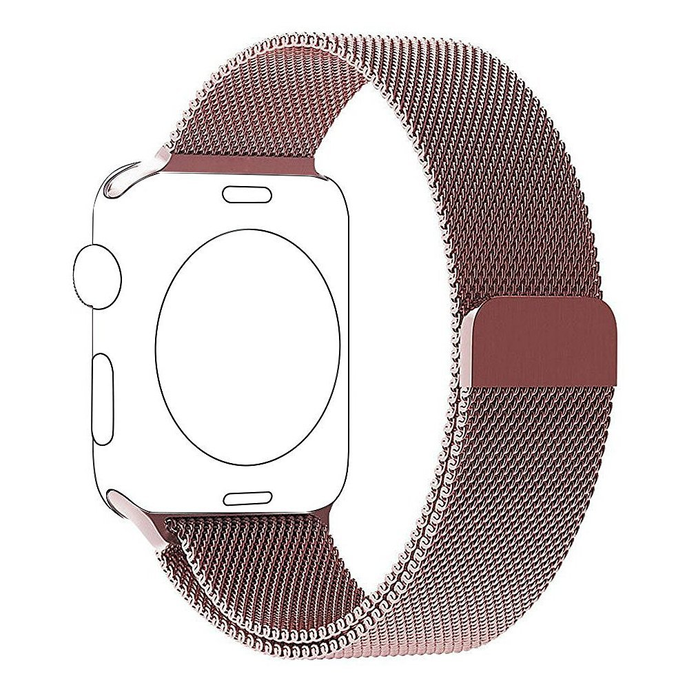38mm Apple Watch Band Milanese Loop Stainless Steel Bracelet Smart Watch Strap for IWatch 38mm All Models with Unique Magnet Lock, No Buckle Needed SILVER (pink)