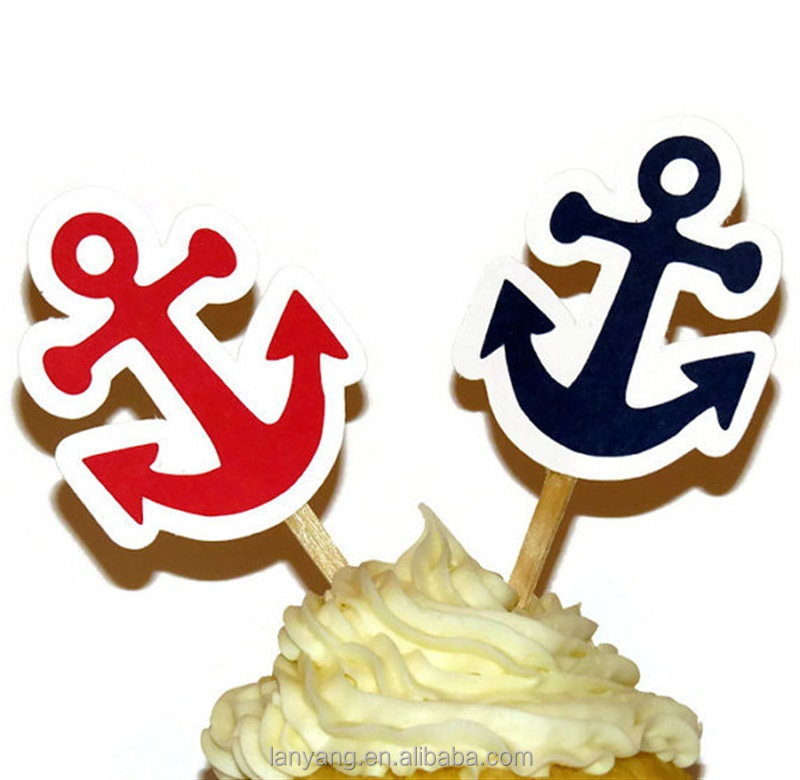 Fabulous Nautical Anchor Cupcake Toppers Baby Shower Birthday Party Bridal Funny Birthday Cards Online Alyptdamsfinfo