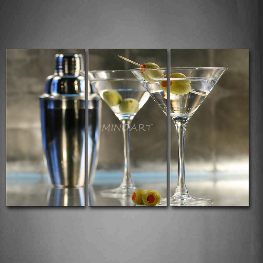 3 Piece Wall Art Painting Cocktail With Glasses And
