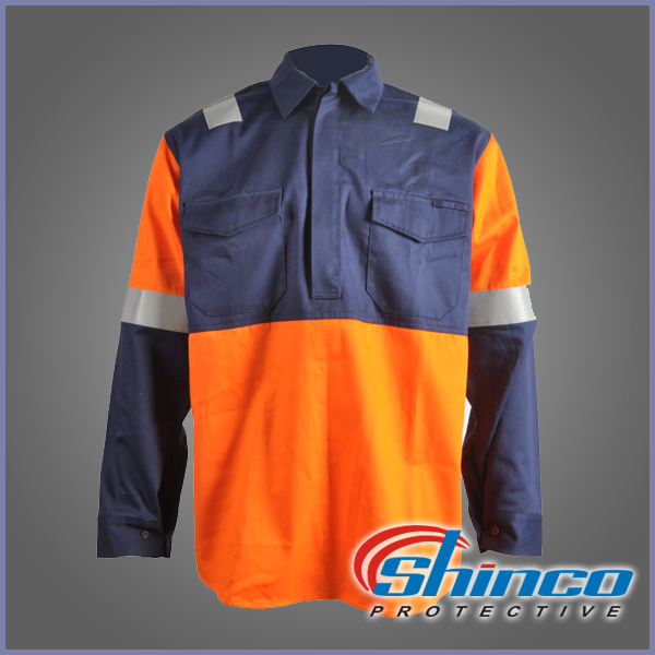 Wholesale cotton black fr long sleeve reflective safety shirt