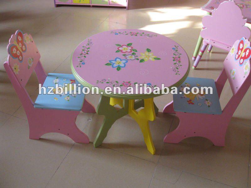 Mesa para ni os y silla muebles de madera en color rosa for Muebles de madera para ninos