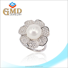 Manufacture china fashion handmade silver 925 pearl adjustable ring spanner