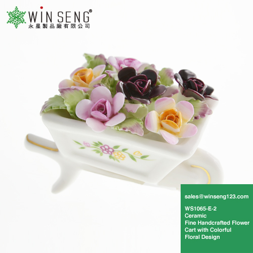 Hot Sale Ceramic Fine Handcrafted Flower Cart for Home Decoration WS1065-E-2