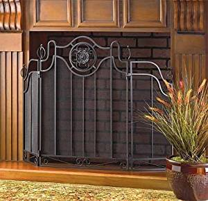 black iron fireplace screen.  Fireplace Screens Black Rustic Cast Iron Decorative Spark Guard Three Panel Antique Modern Mesh Screen Cheap Find
