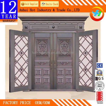 China Alibaba Copper Gate Designs Steel Door With Grill Glass Outside  Double Front Door