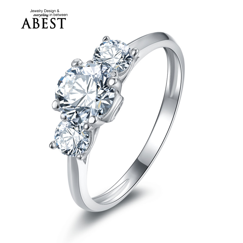 New Style Vintage 3 Stones White Gold Plated Ring 925