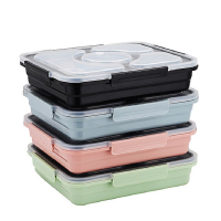 2019 New Arrival high quality durable BPA free leak-proof 5 compartments stainless steel bento lunch box perfect for student