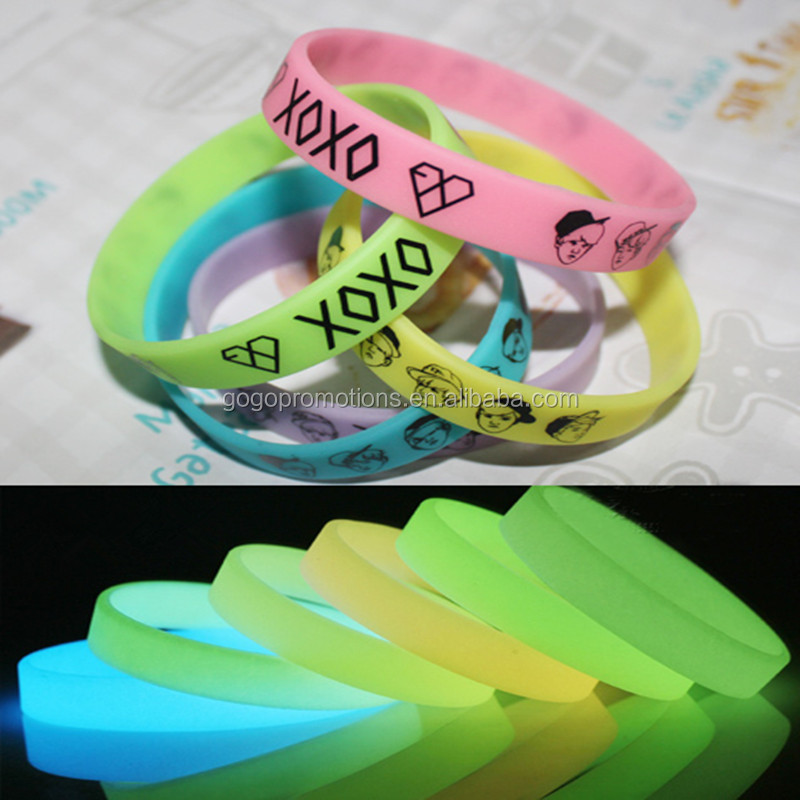 Glowing the dark cheap and popular promotional gifts embossed/debossed silicone bracelet 2014 for one direction,welcome OEM/ODM