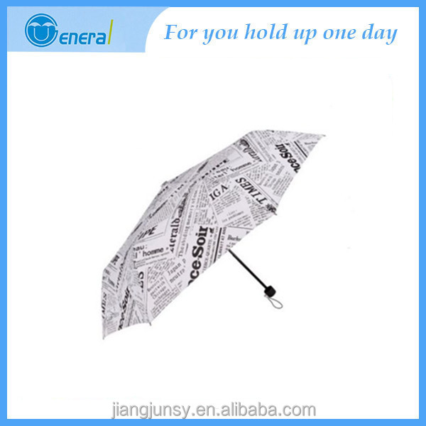 Hot Sale Compact Small Newspaper Print Folding Parasol Rain Sun Umbrella stand