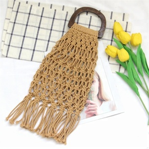 Eco-friendly Washable Vintage Hand Knitted Macrame mesh Bags for Ladies Cotton Macrame Crochet Bag with bamboo handles