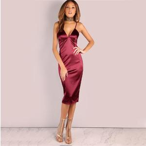 wine red Satin Party Club Dress 2018 Deep V Neck Women Summer Dresses Sexy Bodycon Strap Ruched Ladies Midi Slip Dress
