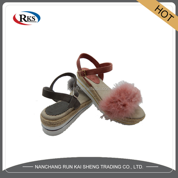 2017 new ladies sandals photos with plush for top sale