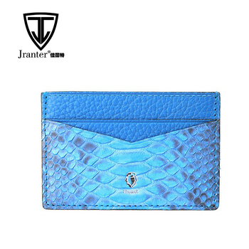 100% Top grade genuine python leather rfid credit card holder /id card holder