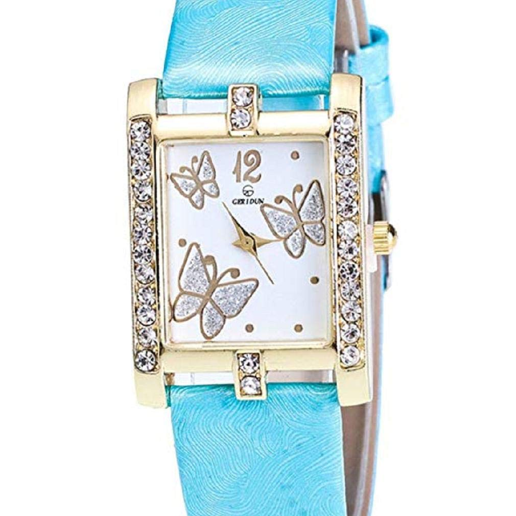 Butterfly Watches Women, Windoson Crystal Analog Lady Watches Female Watches Wrist Watches Women Rectangle Leather Watch (Sky Blue)