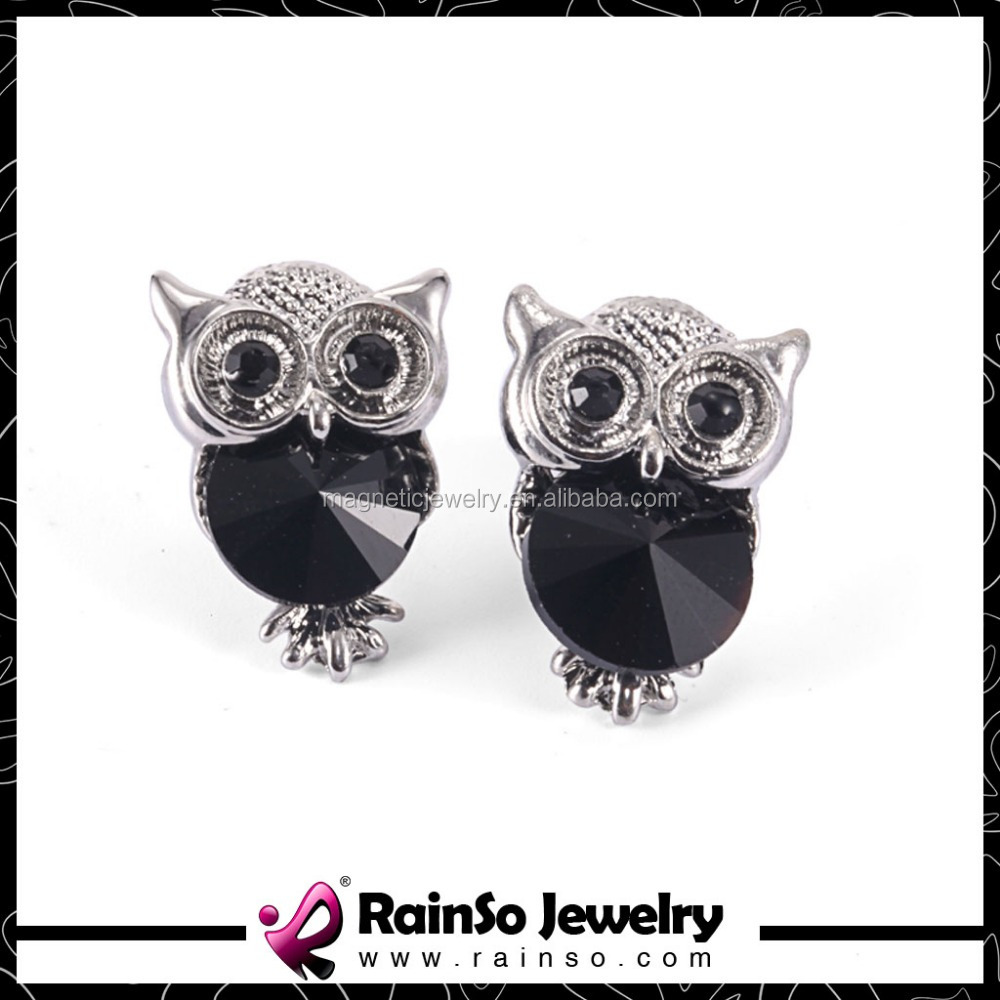 New jewlery 2016 resin stone owl shaped stud earrings cheap for wholesale