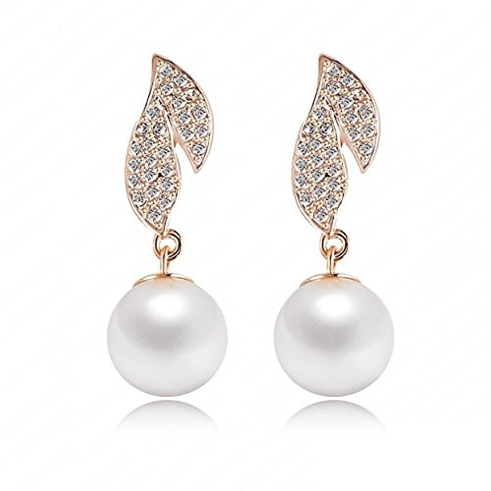 Chic Quality Earring 2013 Pearl Rose Gold Plate Austrian Crystals SWA Elements Pearl Earrings Stud