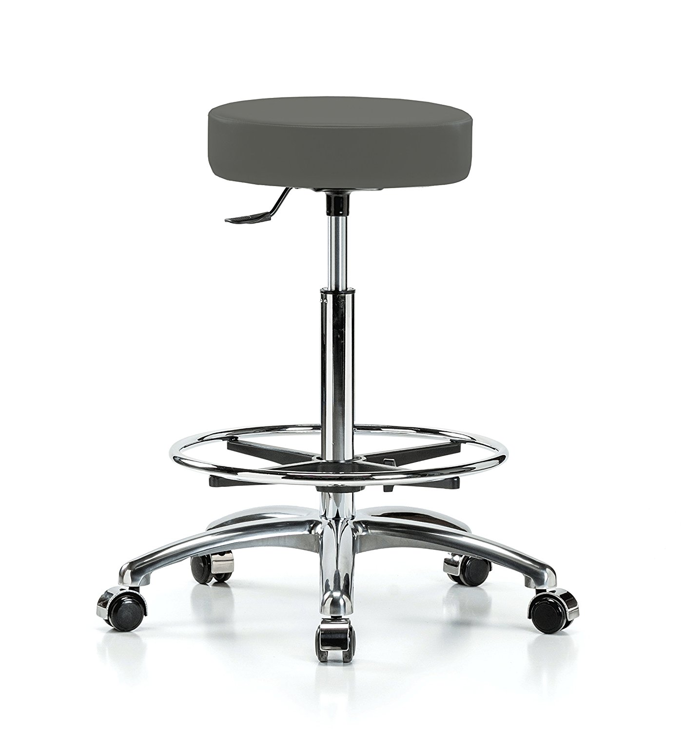 """Perch Single Lever Adjustable Rolling Backless Swivel Stool in Chrome with Footring for Office Salon Home Garage or Work Shop 24"""" - 34"""" (Soft Floor Casters/Charcoal Vinyl)"""