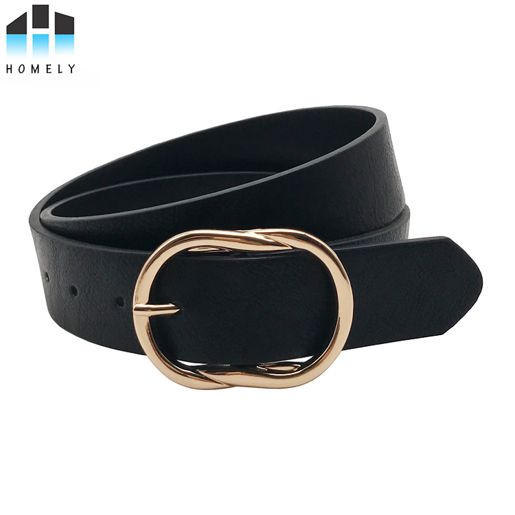 Women fashion leather belt with ground buckle