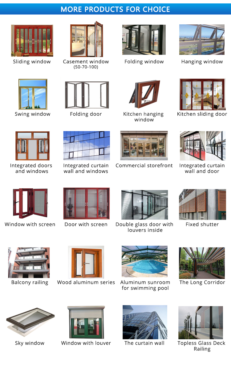 Aluminum sliding glass patio doors with big size tempered glass for commercial use