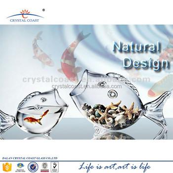 Small Fish Shape Glass Terrarium Elegant Glass Fish Tank Price