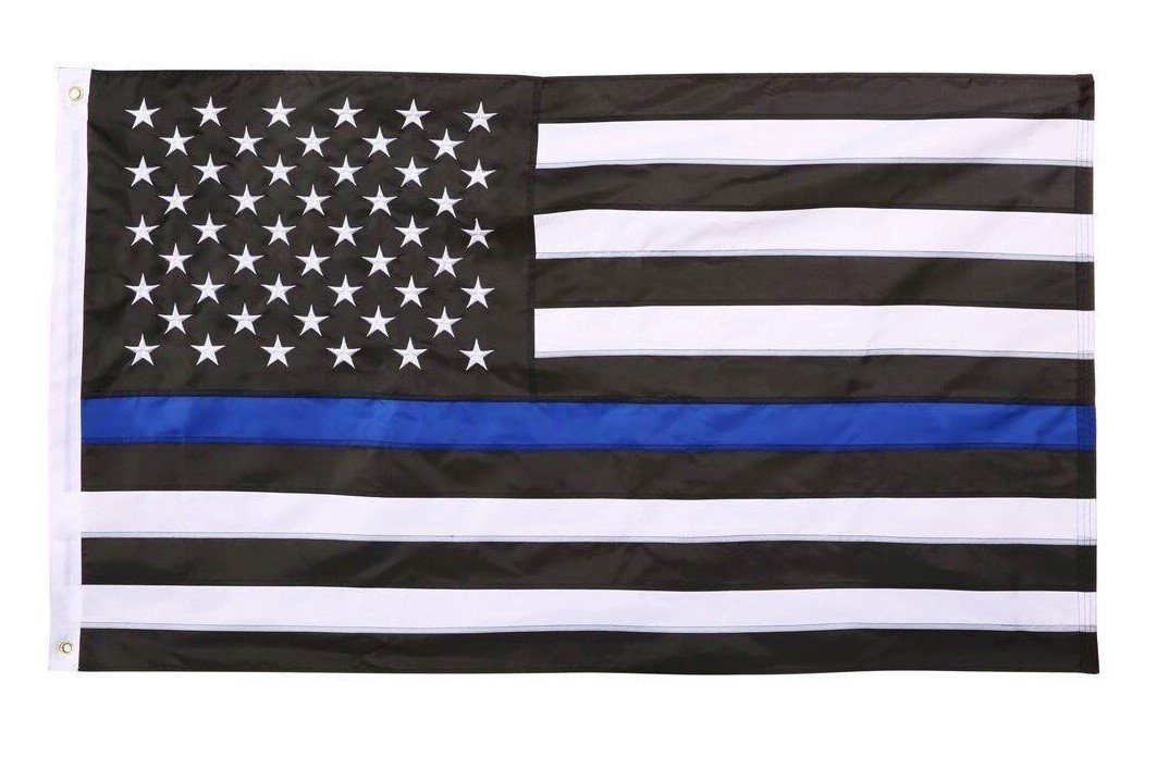 Embroidered Thin Blue Line USA Sewn Stars Stripes American Flag for Police and Law Enforcement 3x5 Feet Flag with Grommets by TrendyLuz Flags