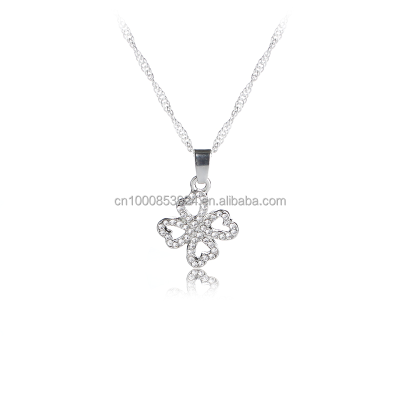 Good Luck Four Leaf Clover with full Crystal Pendant Necklace