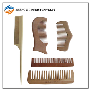 Wooden women hair comb - wide tooth stretch round hair comb claw