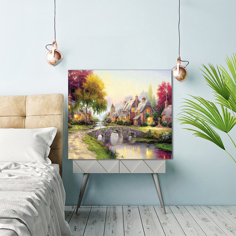 Customized art deco painting on country landscape wall canvas picture painting with led light