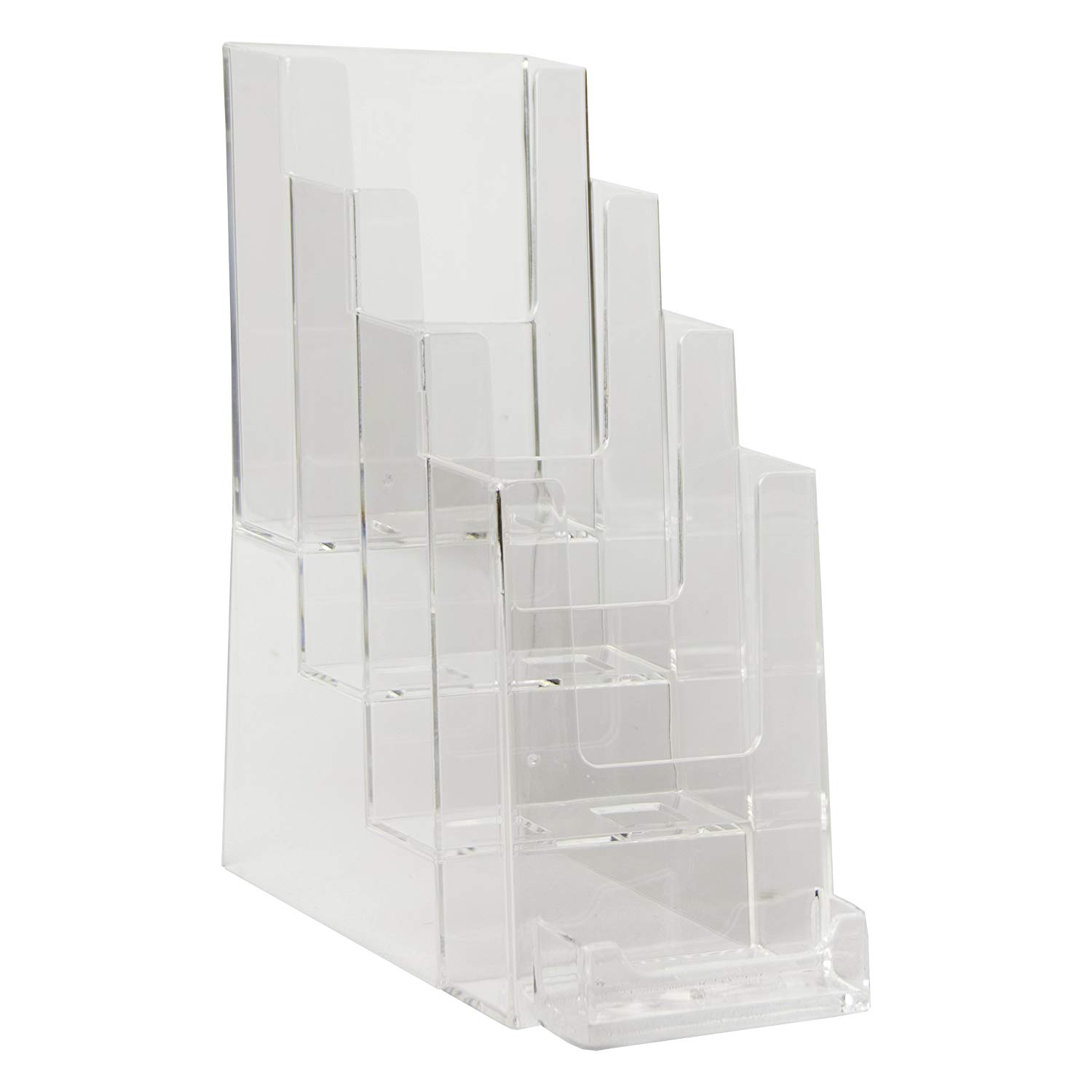 Clear-Ad - LHF-P104 - Acrylic Slant Back 4 Tier Trifold Brochure Display w/ Business Card Holder - Plastic Literature Holder for Flyers, Booklets, Bills, Mail, Letters, Cards, Pamphlets, Maps (2-Pack)