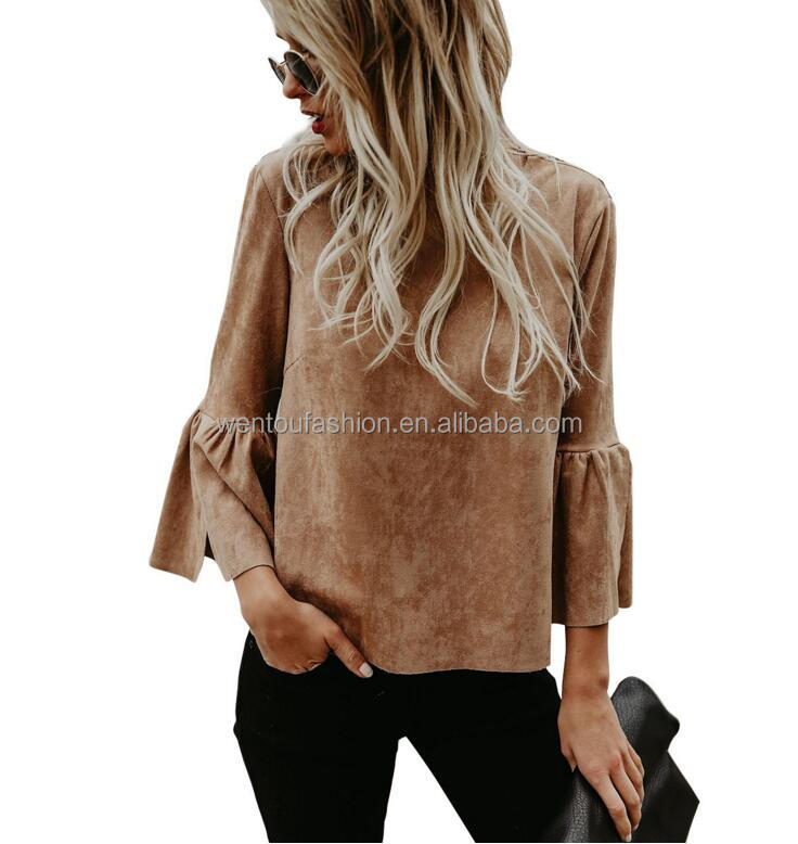 Wholesale Fashion Ladies Roundup Faux Suede Bell Sleeve Top